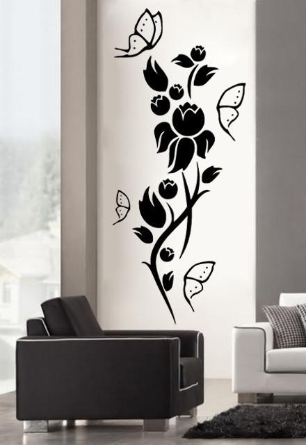 Sticker De Perete Flori Si Fluturi 05