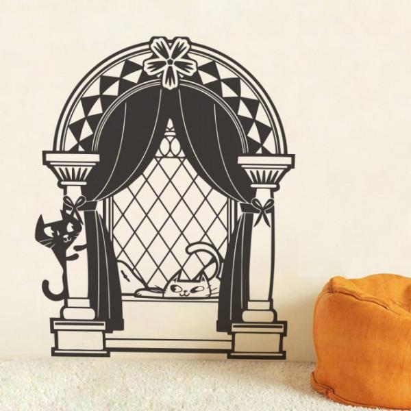 Sticker De Perete Pisici La Fereastra