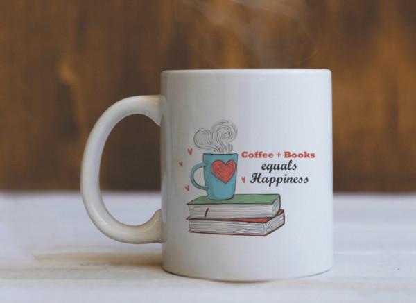 Cana Cu Mesaj - Coffee + Books = Happiness