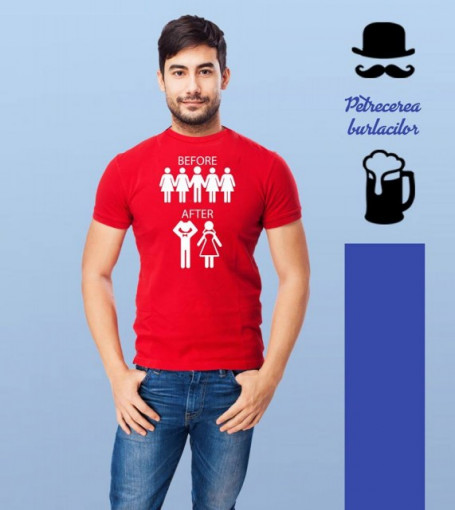 Poze Imprimeu tricou BEFORE/ AFTER MARRIAGE