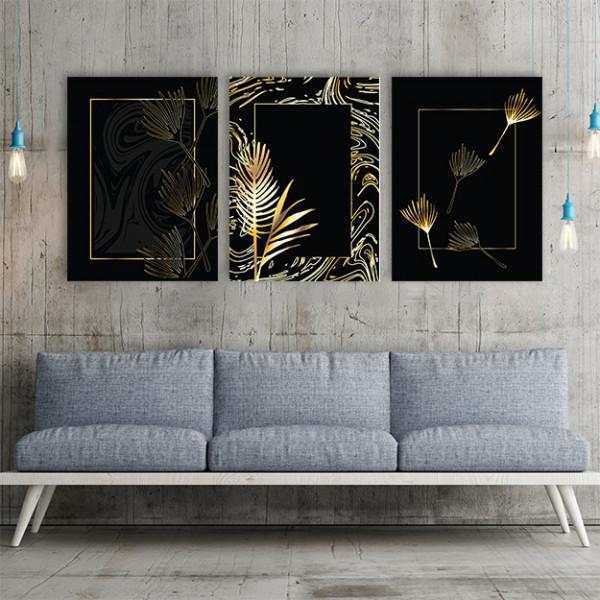 Set 3 tablouri - Frunze aurii