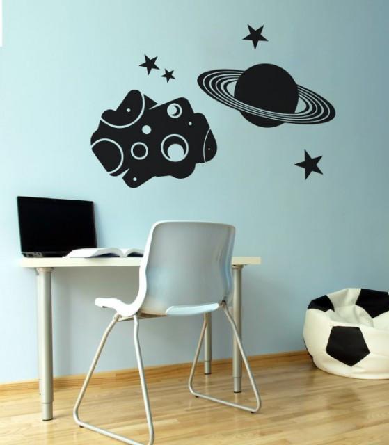 Sticker De Perete Asteroid Cu Planeta Si Stele