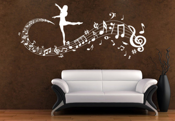 Sticker De Perete Note Muzicale Balerina