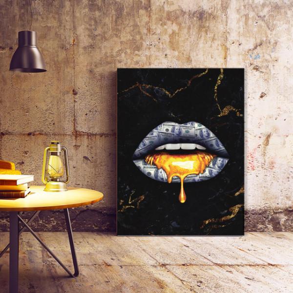 Tablou Canvas Golden Dollar Lips