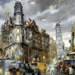 Tablou canvas efect painting - oras 01