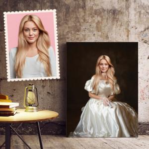 Portret personalizat cu poza ta - Domnita in alb