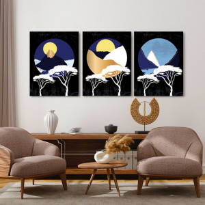 Set tablouri canvas - Abstract circles and trees