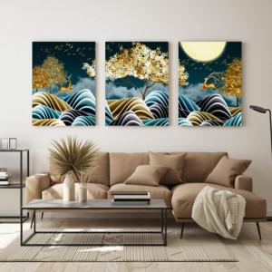Set Tablouri Canvas - Natura Stilizata Artistic Gold And Green