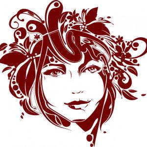 Sticker De Perete Fata Cu Par Floral