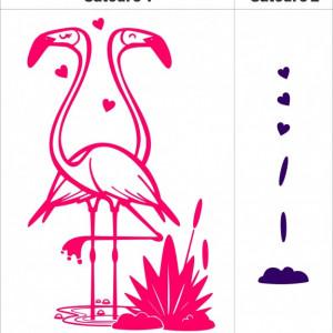 Sticker De Perete Flamingo (In Doua Culori)