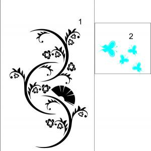 Sticker De Perete Flori Si Fluturi 03