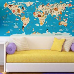 Sticker De Perete Harta Lumii Pentru Camera Copiilor
