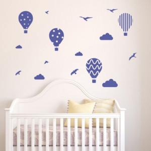 Sticker de Perete Hot Air Balloon Birds Clouds