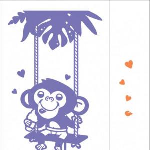 Sticker De Perete Maimutica Pe Leagan (In Doua Culori)