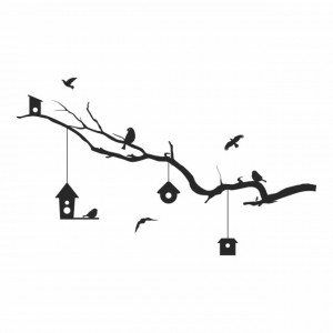 Sticker Tree Branch Bird House