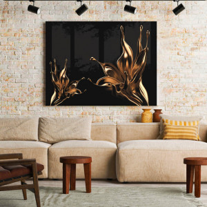 Tablou Canvas Golden Drops Lillies