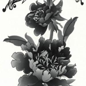 Tatuaj Temporar - O Floare Si Doi Fluturi - 17x10cm