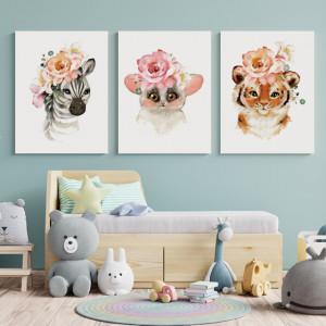 Set Tablouri Copii - Cute flower animals
