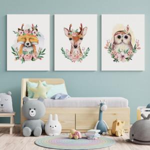 Set Tablouri Copii - Floral animals