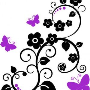 Sticker de Perete Floare Agatatoare cu Fluturi