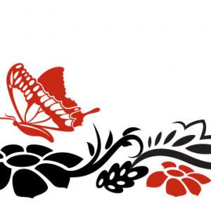 Sticker De Perete Flori Si Fluturi 02