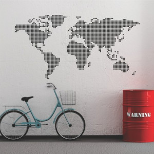 Sticker De Perete Harta Lumii Din Patratele