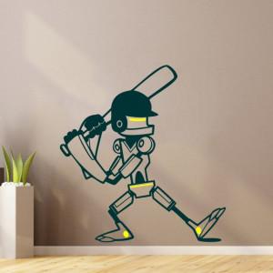 Sticker De Perete Robotel Cu Bata (In Doua Culori)