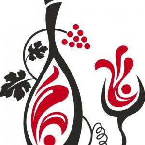 Sticker De Perete Sticla De Vin Cu Pahar