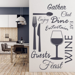 Sticker de Perete Wine Dine Kitchen