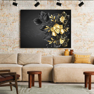 Tablou Canvas Black and gold orchids