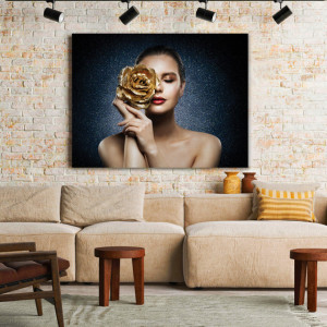 Tablou Canvas Sparkling Golden Rose