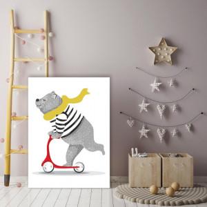 Tablou copii - Ursulet pe trotineta