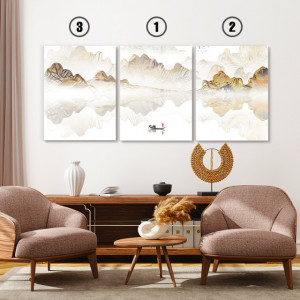 Set tablouri canvas - Abstract landscape with a boat
