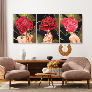 Set tablouri canvas - Rose Lady Gold Background