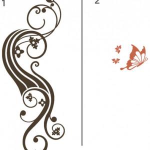 Sticker De Perete Abstract Floral Cu Fluture 01