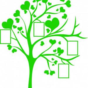 Sticker De Perete - Copac Cu Inimi Si Poze