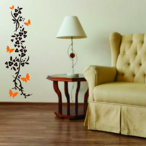 Sticker De Perete Flori Si Fluturi 04