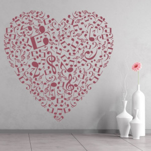 Sticker de Perete Music Notes Love Heart
