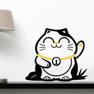 Sticker De Perete Pisica Norocoasa (In Doua Culori)