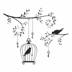 Sticker Vintage Bird Cage Tree Branch