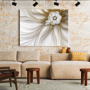 Tablou Canvas Flower in satin and gold