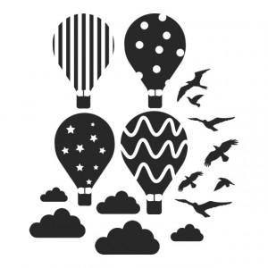 Tablou Canvas Hot Air Balloon Birds Clouds