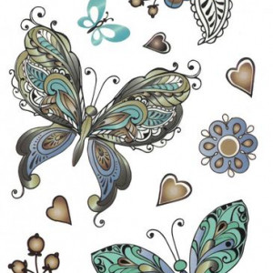 Tatuaj temporar - beautiful butterflies- 17x10cm