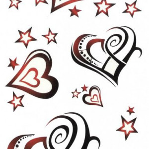 Tatuaj temporar -hearts and stars- 17x10cm