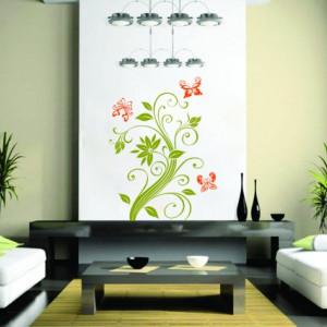 Floral abstract cu fluturi