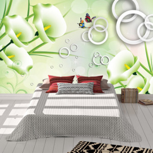 Foto tapet 3D Shapes and flowers