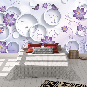 Foto tapet Circles and purple butterflies