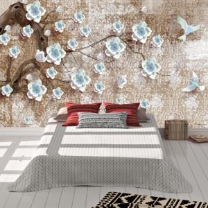 Foto tapet Crenguta cu flori albastre