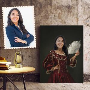 Portret personalizat cu poza ta - Domnita cu evantai