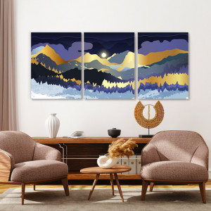 Set tablouri canvas - Magical sunrise over golden mountains